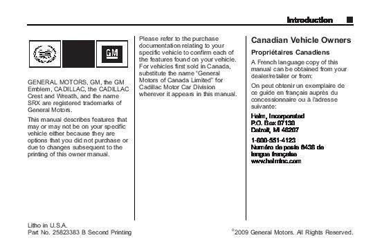 2010 cadillac srx owners manual rh auto filemanual com 2010 cadillac srx owners manual for sale 2010 Cadillac SRX Interior