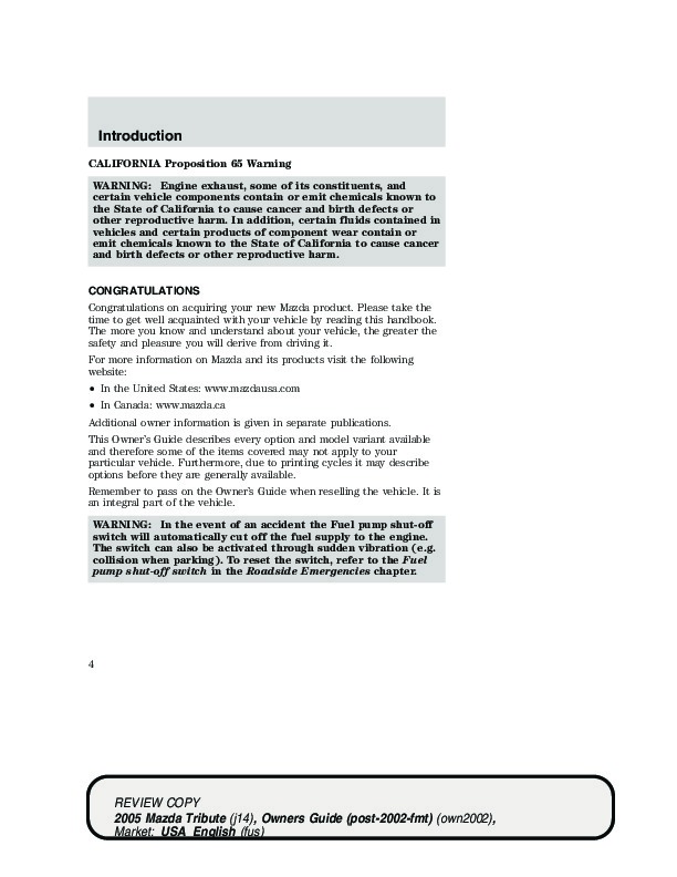 2005 mazda tribute owners manual rh filemanual com