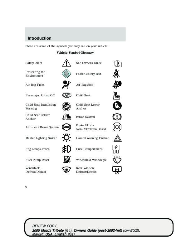 2005 mazda tribute service manual browse manual guides u2022 rh trufflefries co Types of Manuals 2005 Mazda Tribute MPG