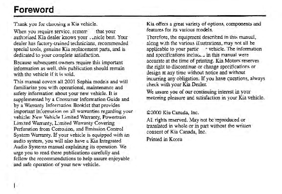 2001 Kia Sephia Owners Manual