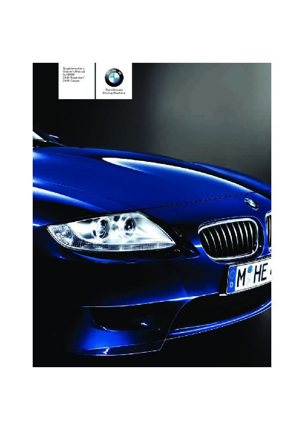 2005 Bmw Z4 M E86 Owners Manual
