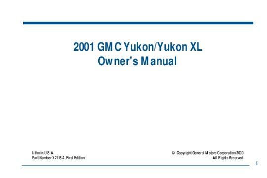 2001 gmc yukon xl owners manual rh auto filemanual com 2001 yukon owner's manual 2001 gmc yukon denali xl owners manual