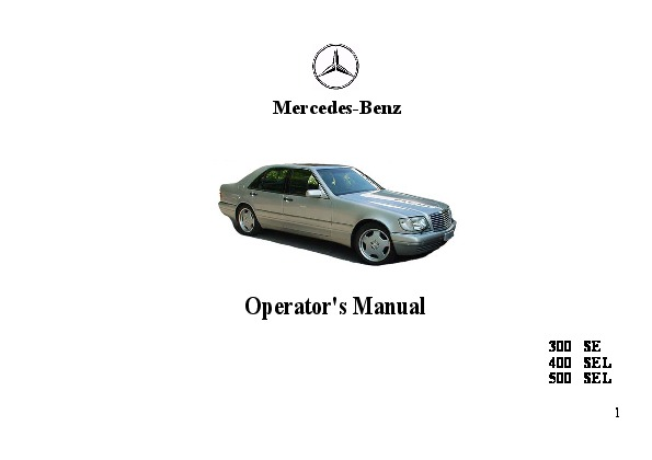 1993 mercedes benz 300se 400sel 500sel w140 owners manual rh auto filemanual com mbusa owners manual download SUV Mbusa