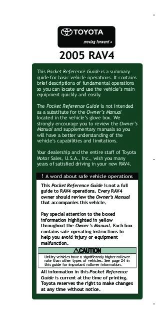 2005 toyota rav 4 reference owners guide rh filemanual com 2005 rav4 service manual download 2008 Toyota RAV4