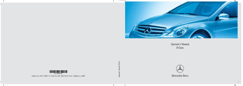 2007 mercedes benz r350 r500 r320 cdi r63 amg v251 owners manual rh auto filemanual com Mercedes S-Class Mercedes C-Class