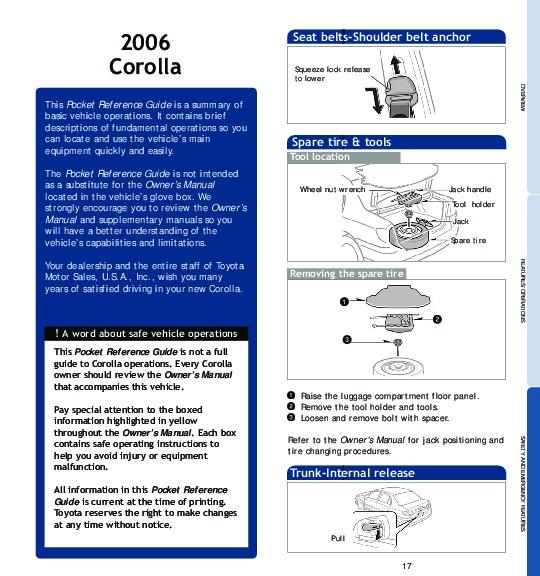 2006 toyota corolla owners manual