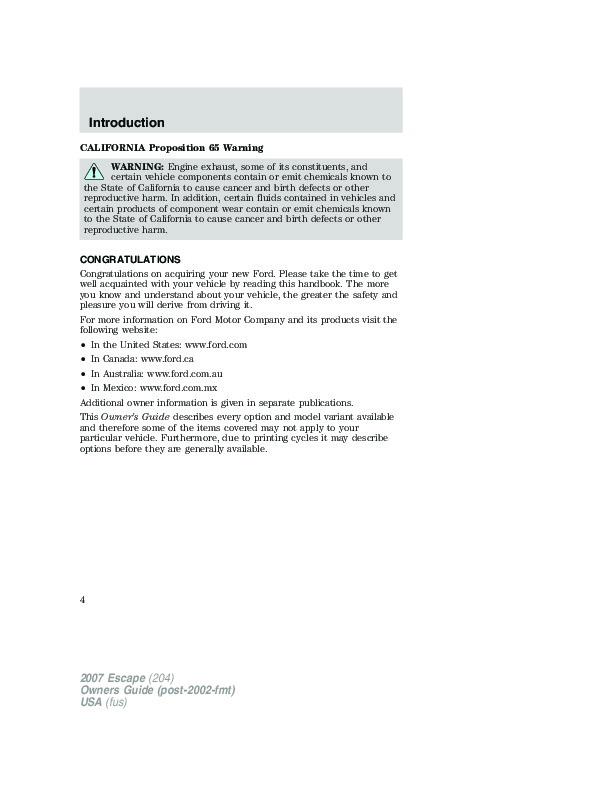 2007 ford escape owners manual. Black Bedroom Furniture Sets. Home Design Ideas