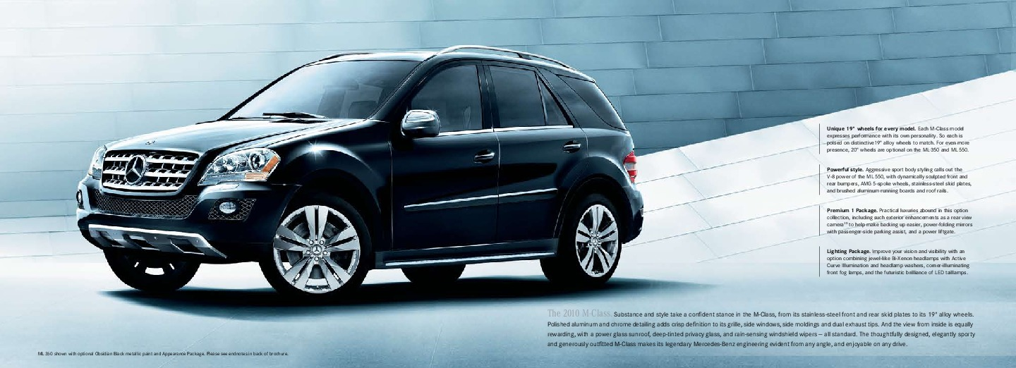 2010 mercedes benz m class brochure ml350 bluetec ml450. Black Bedroom Furniture Sets. Home Design Ideas