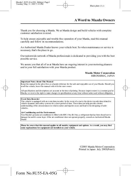 2006 mazda 3 owners manual rh auto filemanual com owners manual for mazda 3 owners manual for 2007 mazda 3