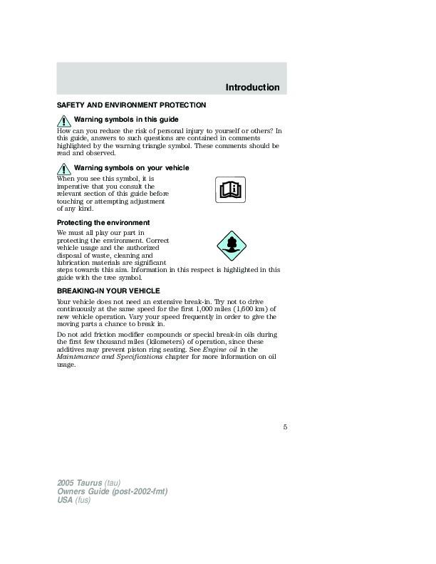 2005 ford taurus owners manual rh auto filemanual com 2005 ford taurus owners manual online 2005 ford taurus service manual download
