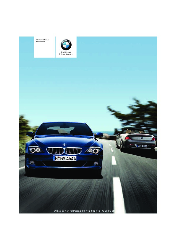 2010 Bmw 6 Series 650i Owners Manual border=