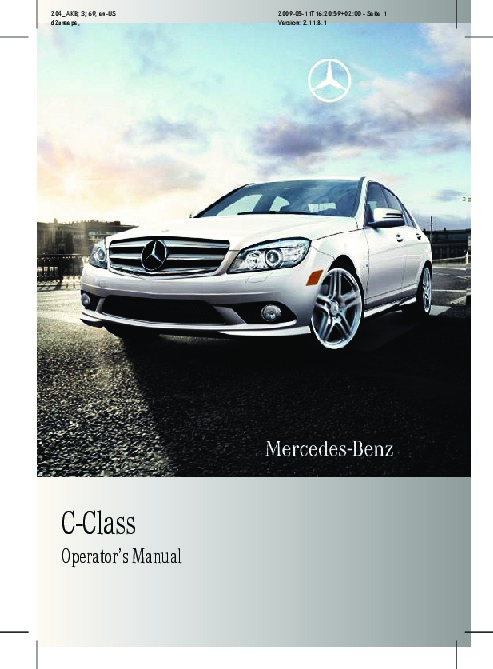 2010 mercedes benz c class operators manual c250 c300 for Mercedes benz c300 manual