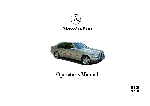 1997 mercedes benz s500 s600 w140 owners manual rh auto filemanual com Mercedes-Benz W124 Mercedes-Benz W124