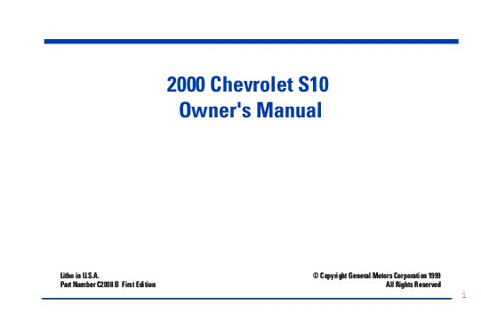 2000 chevrolet s10 owners manual rh auto filemanual com 2001 Chevrolet S10 2001 Chevrolet S10