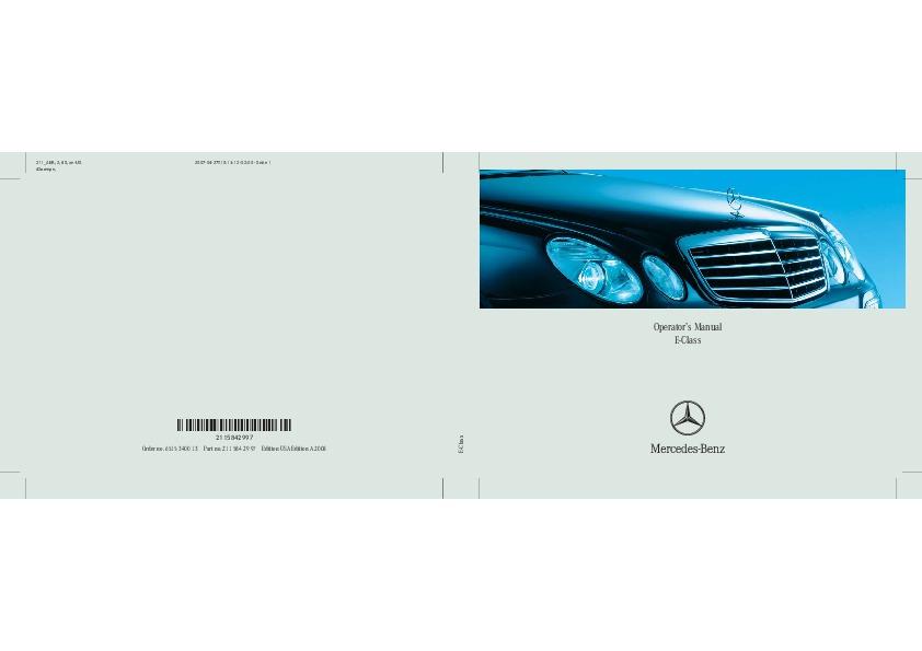 2008 mercedes benz e class operators manual e320 bluetec e280 e350 e550 e63 amg Mercedes E550 AMG Mercedes E550 Coupe
