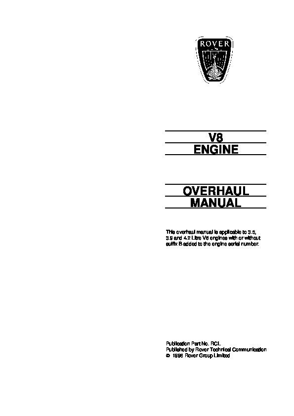 1996 land rover 3 5 3 9 and 4 2 litre v8 engines overhaul manual rh auto filemanual com Land Rover Defender 110 Land Rover Defender 110