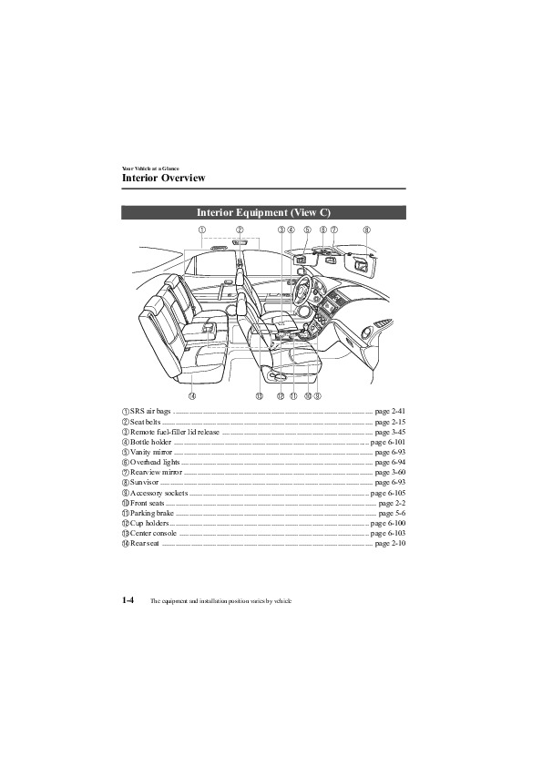 2009 Mazda 6 Owners Manual, 2009   10 Of 464