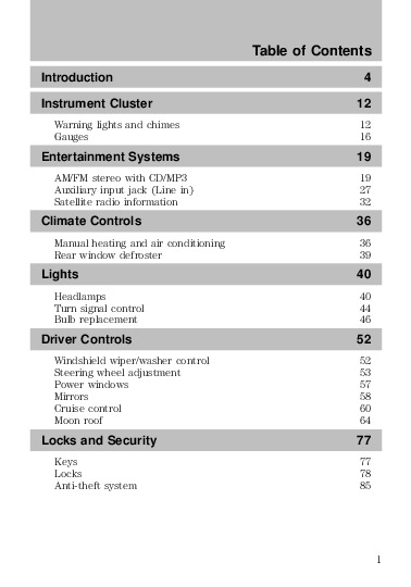 2010 Mazda Tribute Owners Manual