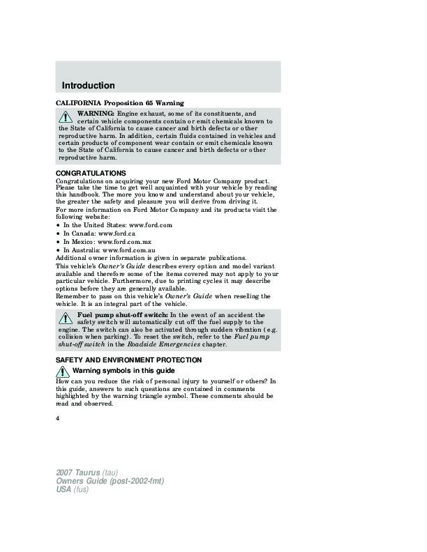 2007 ford taurus owners manual rh auto filemanual com 2007 ford taurus service manual 2007 ford taurus service manual