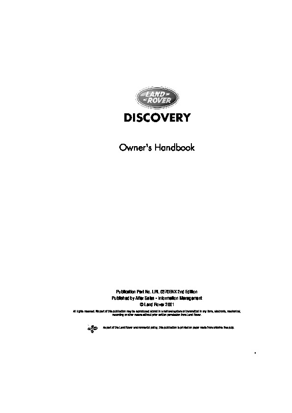 2001 land rover discovery series ii owners manual handbook rh auto filemanual com Operators Manual discovery 1 owner's manual pdf