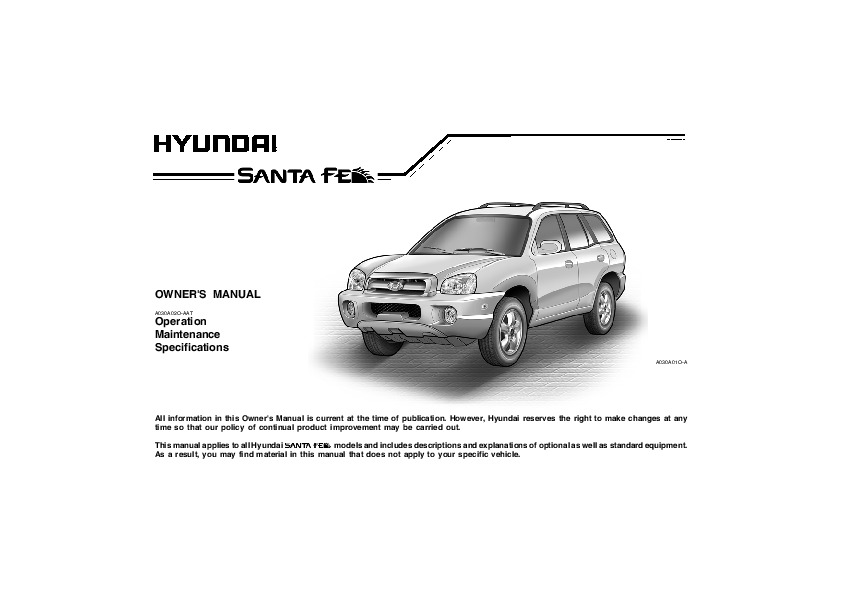 2005 hyundai santa fe owners manual rh auto filemanual com