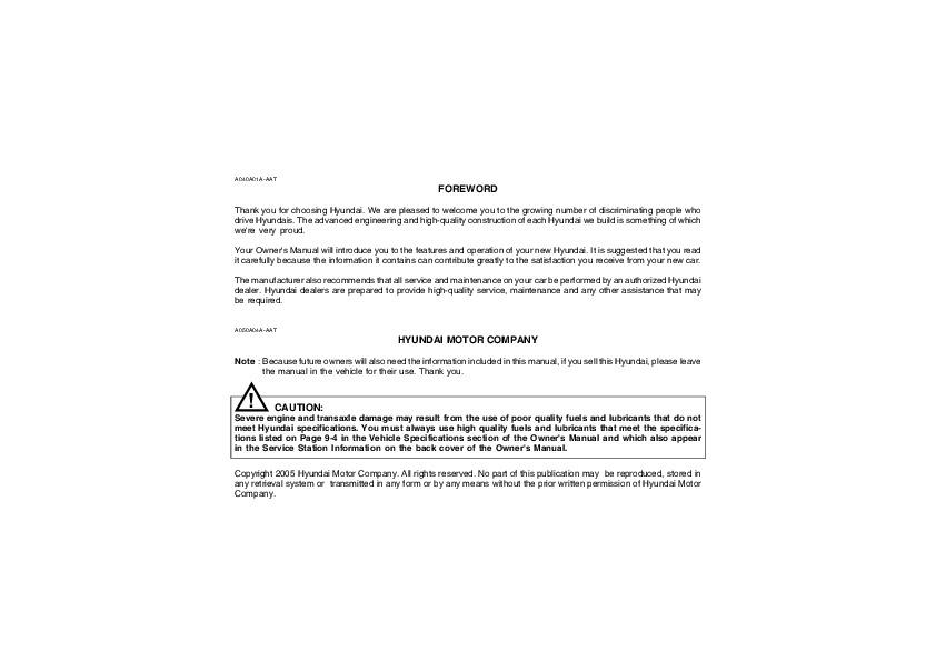 2005 hyundai santa fe owners manual