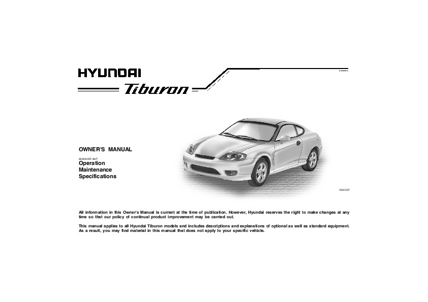 2006 hyundai tiburon owners manual. Black Bedroom Furniture Sets. Home Design Ideas