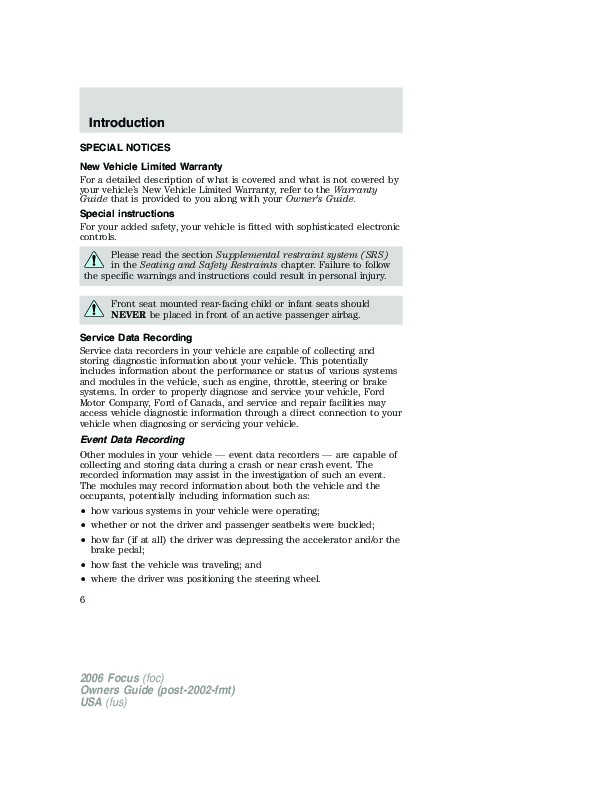 service manual free repair manual for a 2006 ford focus. Black Bedroom Furniture Sets. Home Design Ideas