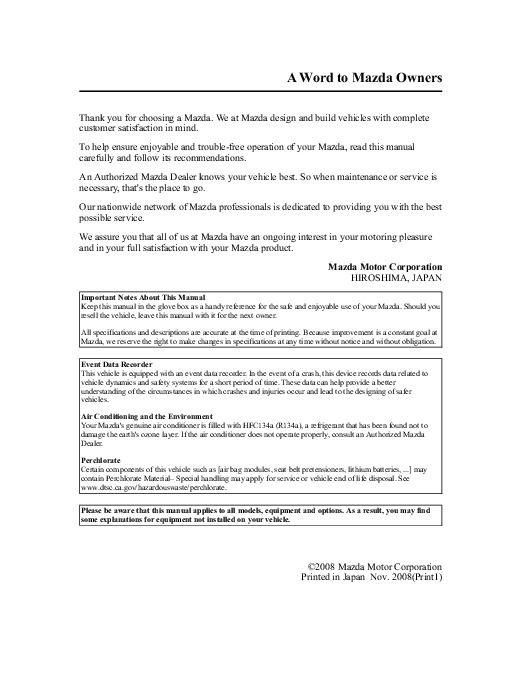 2009 mazda mx 5 miata owners manual