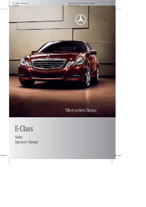 2010 mercedes benz e class sedan operators manual e350 for Mercedes benz e class manual