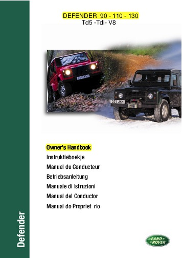 1999 land rover defender 90 110 130 td5 tdi v8 owners manual rh auto filemanual com land rover defender owners manual download land rover defender owners manual