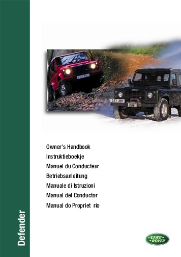 1997 land rover defender 90 110 130 user manual rh auto filemanual com land rover defender owners manual download land rover defender user manual