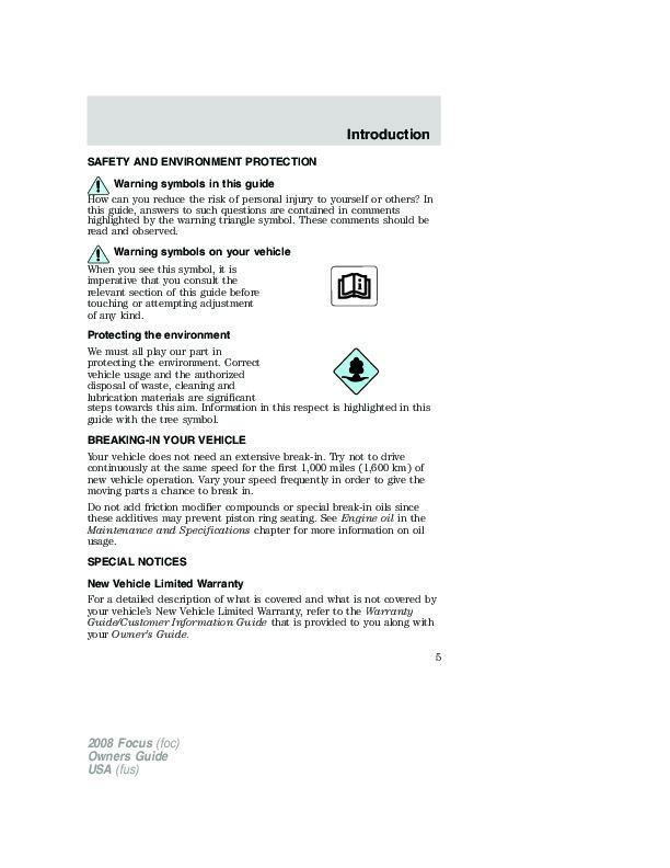 2008 ford focus shop manual