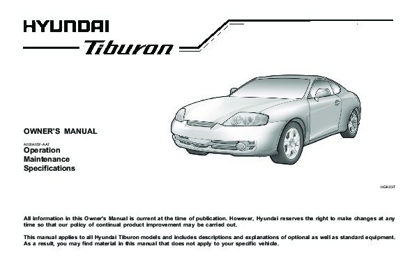 service manual 2004 hyundai tiburon owners repair manual. Black Bedroom Furniture Sets. Home Design Ideas