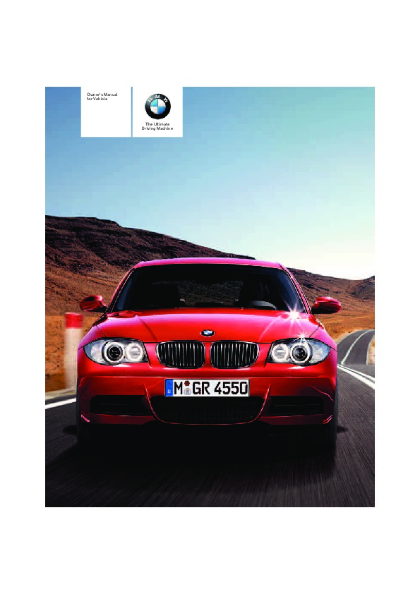 2008 bmw 1 series 128i 135i e82 owners manual. Black Bedroom Furniture Sets. Home Design Ideas