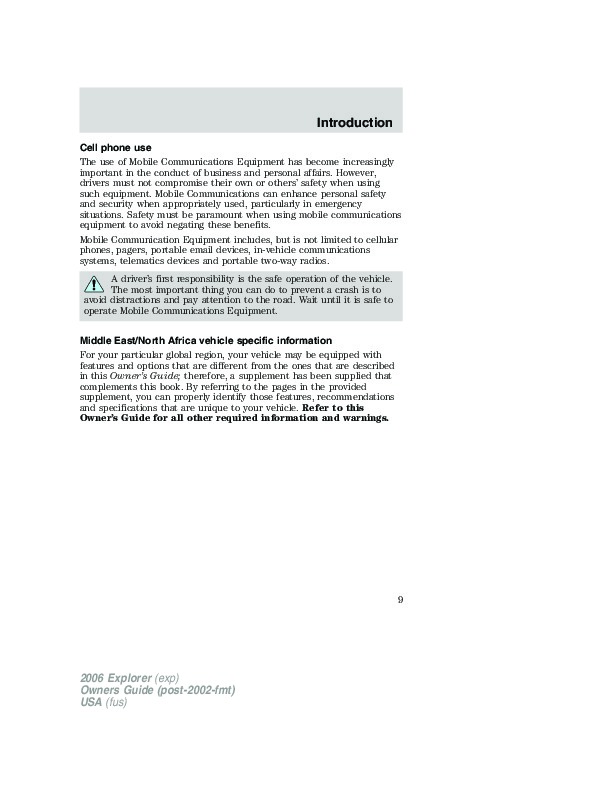 2006 Ford Explorer Owners Manual border=