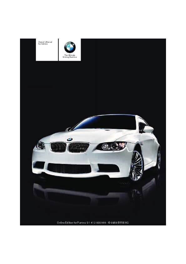 2009 bmw 3 series m3 e92 e93 owners manual rh auto filemanual com 2007 BMW 328I Hardtop Convertible 2009 BMW 328I Convertible Headlight