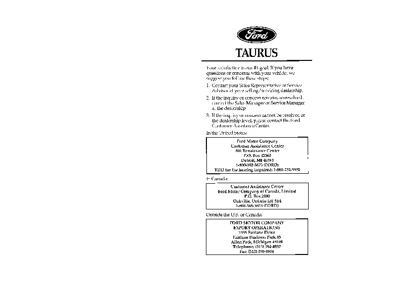 1996 ford taurus owners manual rh auto filemanual com 1999 Ford Taurus 2002 Ford Taurus Owners Manual