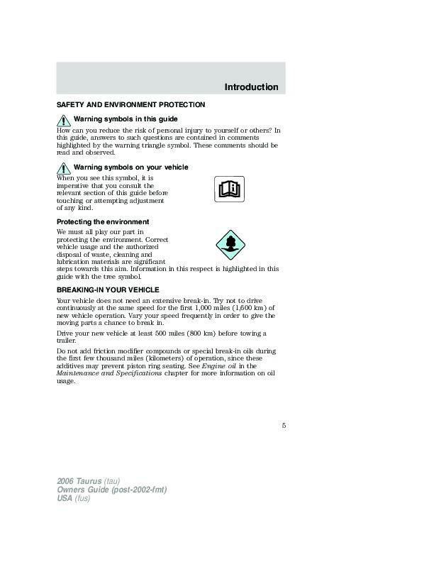 2006 ford taurus owners manual rh auto filemanual com 2006 ford taurus owners manual pdf 2006 ford taurus service manual