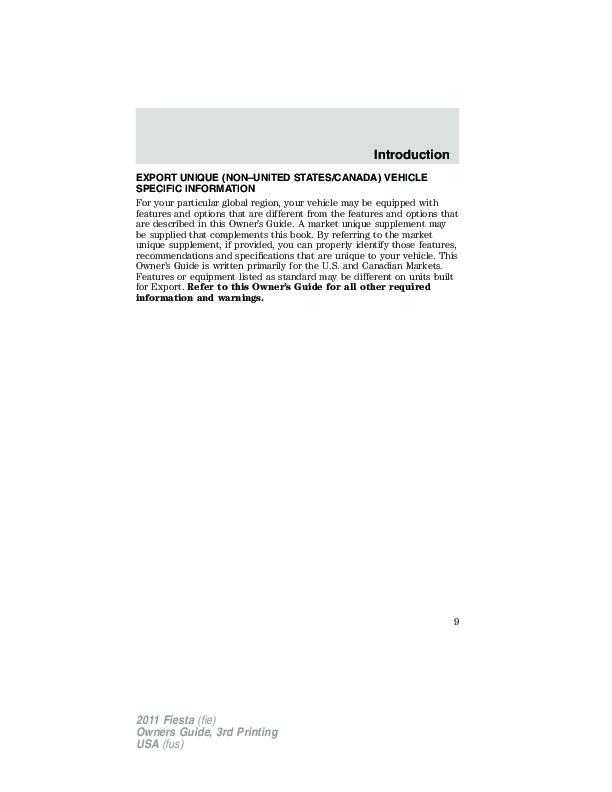 Ford Fiesta Owners Manual pdf