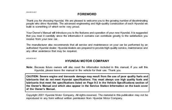 Hyundai Xg 300 owners Manual